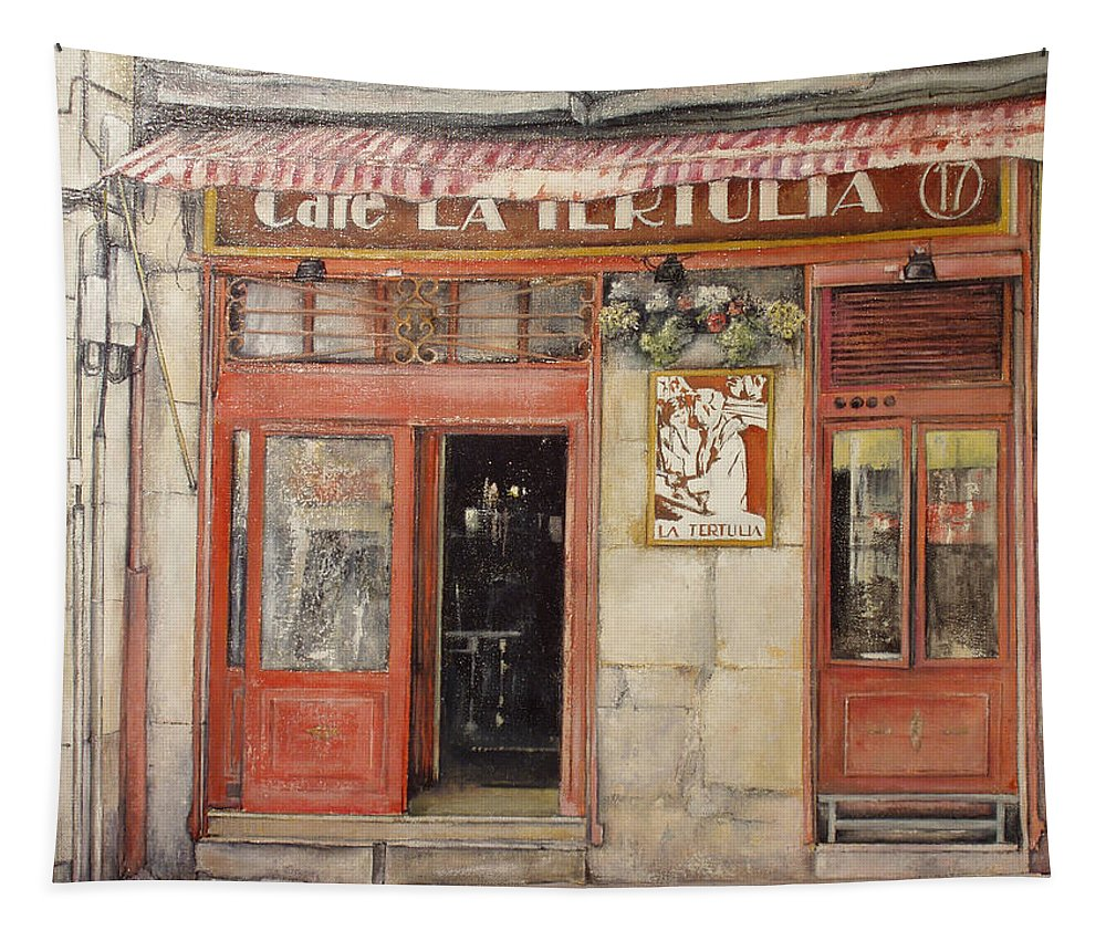Cafe Tapestry featuring the painting Old Cafe- Santander Spain by Tomas Castano