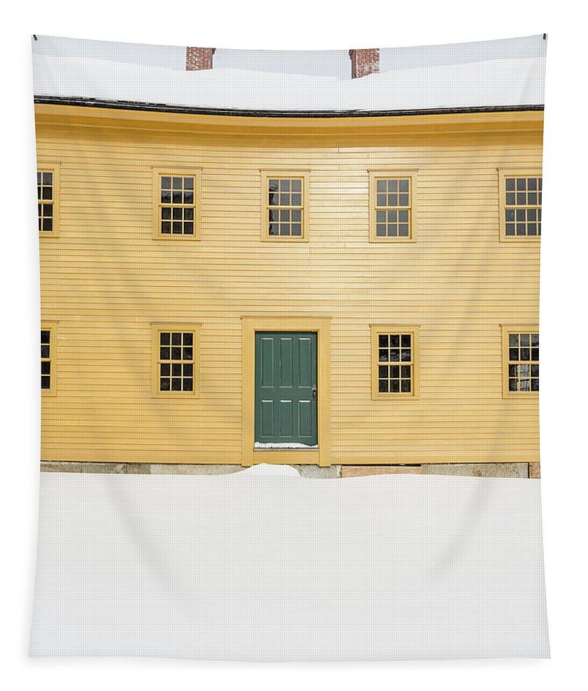 Home Tapestry featuring the photograph Old Colonial Era Period House In Winter by Edward Fielding