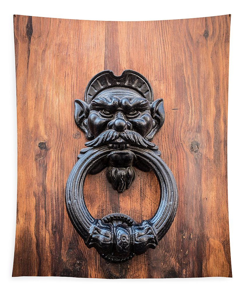Door Tapestry featuring the photograph Old Face Door Knocker by Edward Fielding