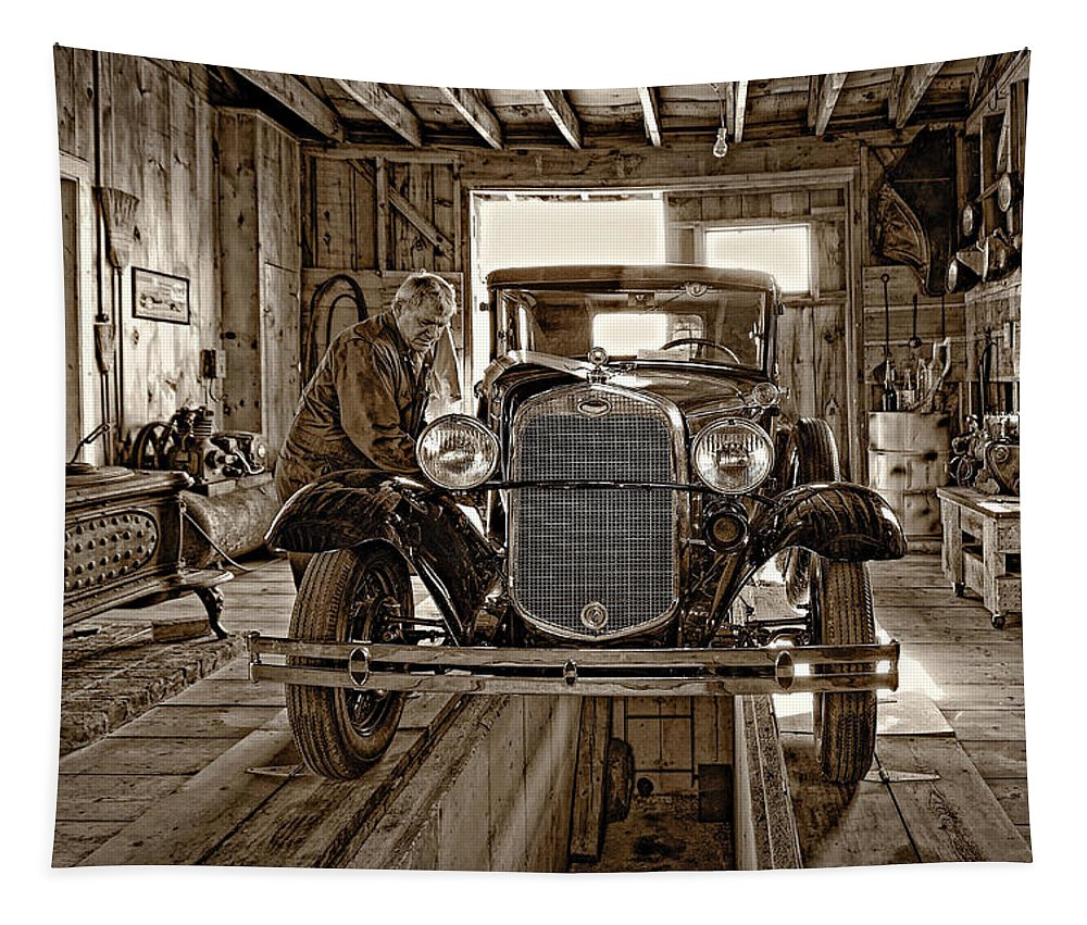 Oil Tapestry featuring the photograph Old Fashioned Tlc Monochrome by Steve Harrington
