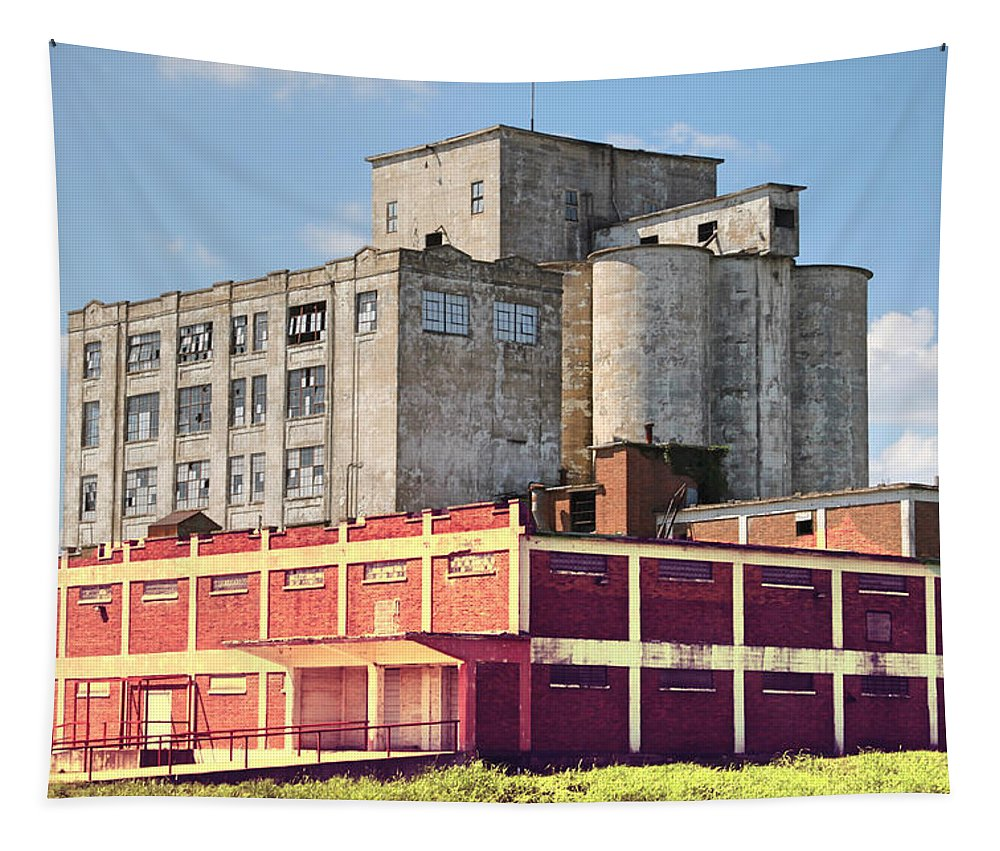 Old Building Tapestry featuring the photograph Old Flour Mill by Linda James