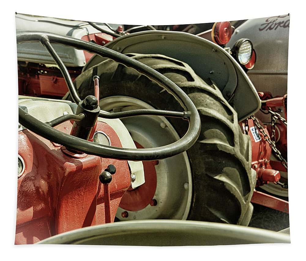 Old Tapestry featuring the photograph Old Ford Tractors by Mike Martin