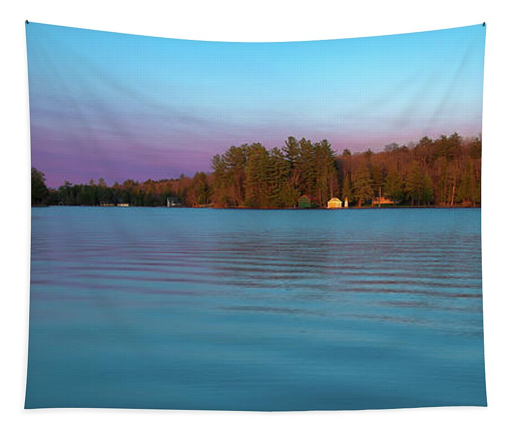 Old Forge Pond Panorama Tapestry featuring the photograph Old Forge Pond Panorama by David Patterson