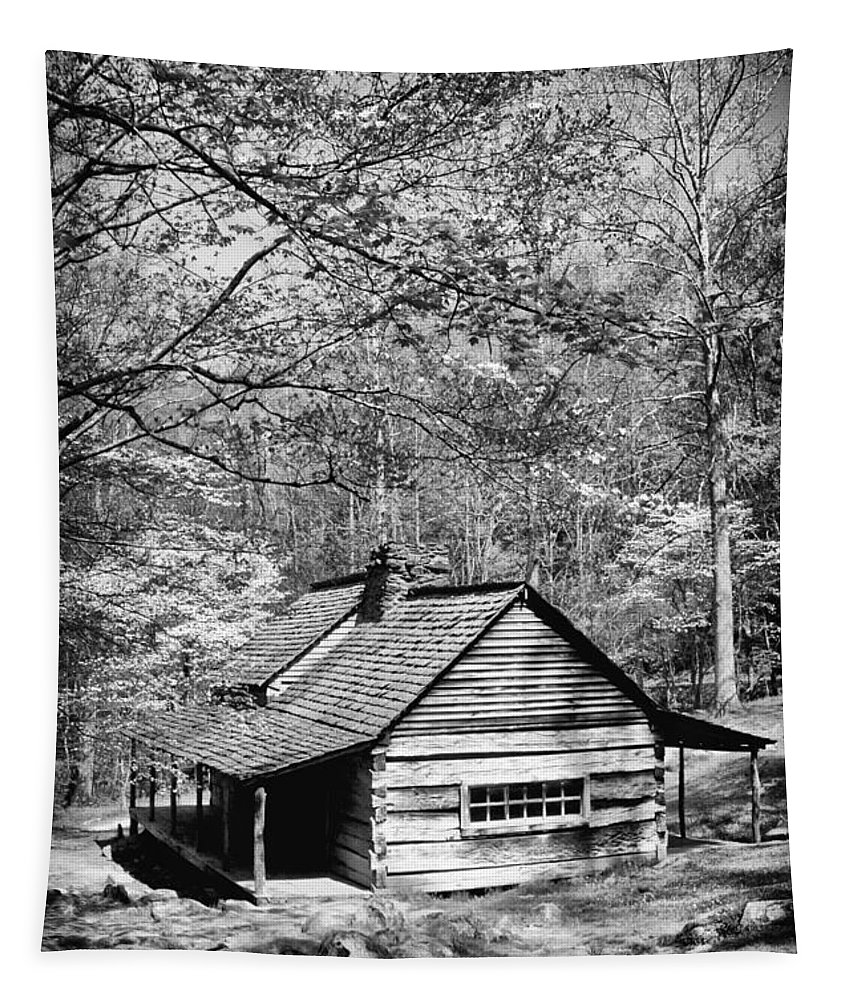 Log Cabin Tapestry featuring the photograph Old Frontier Cabin by Paul W Faust - Impressions of Light