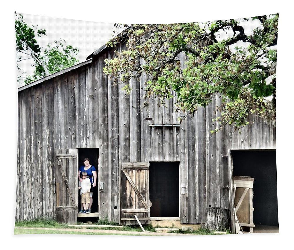 Barn Tapestry featuring the photograph Old Grey Barn With Vistors by Victoria Beasley