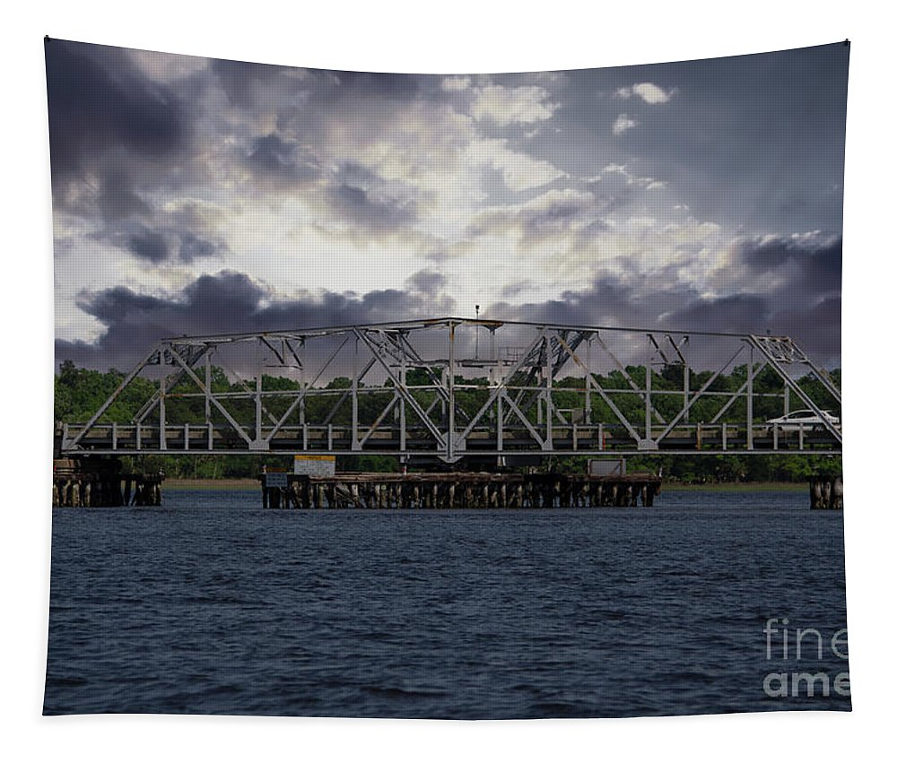 Highway 41 Bridge Tapestry featuring the photograph Old Highway 41 Swing Bridge Over The Wando River In Charleston Sc by Dale Powell