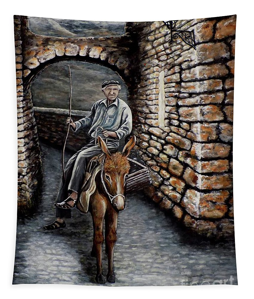 Donkey Tapestry featuring the painting Old Man On A Donkey by Judy Kirouac