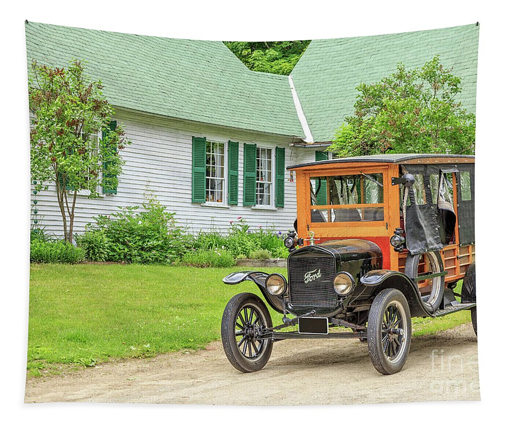 Model Tapestry featuring the photograph Old Model T Ford In Front Of House by Edward Fielding