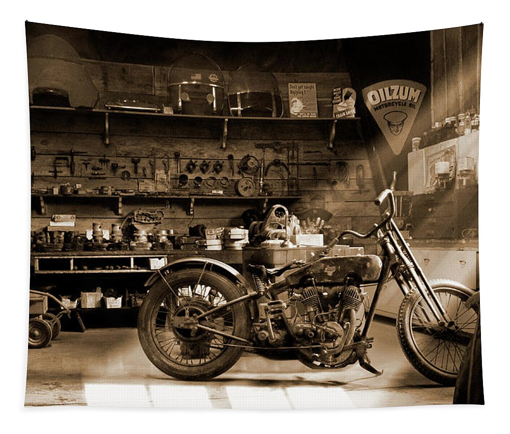 Motorcycle Tapestry featuring the photograph Old Motorcycle Shop by Mike McGlothlen