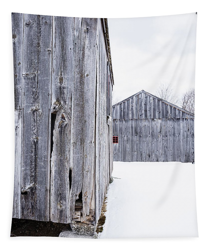 Gray Tapestry featuring the photograph Old New England Barns Winter by Edward Fielding