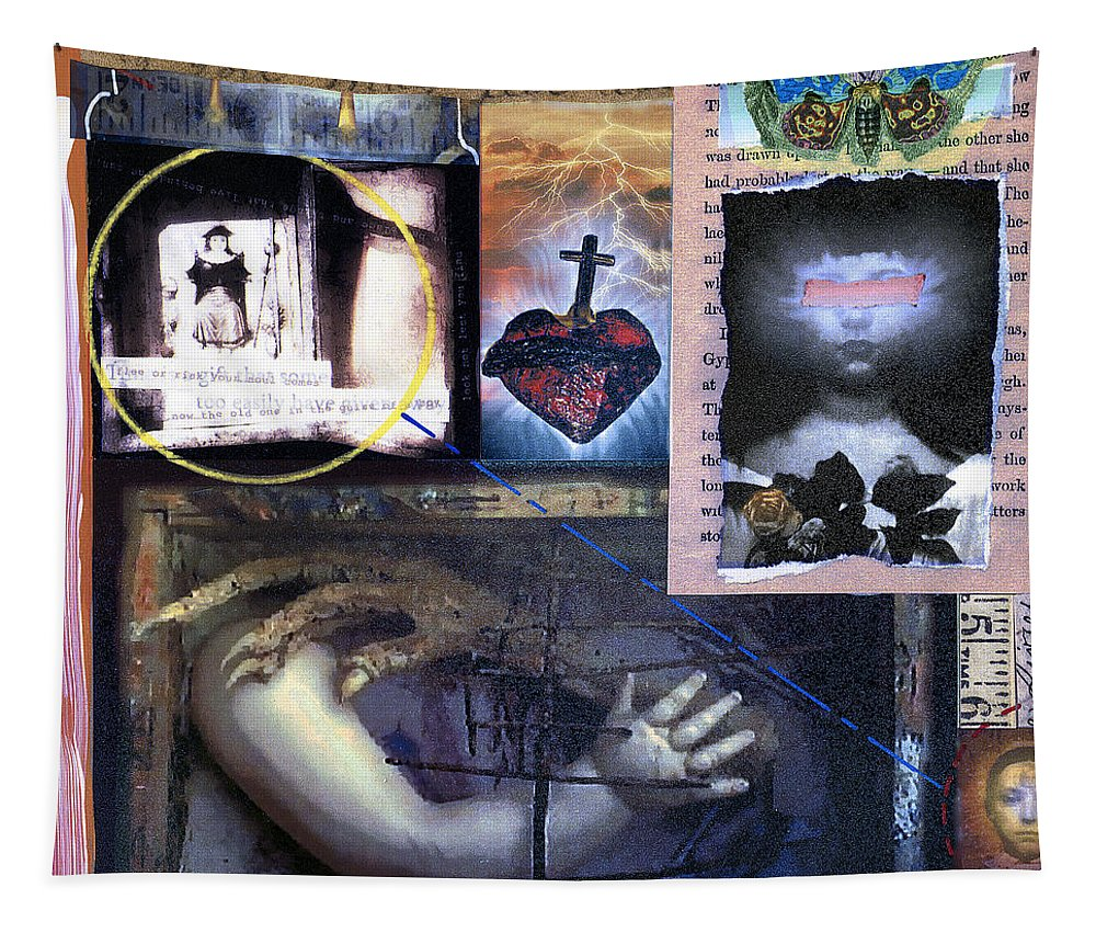 Collage Tapestry featuring the painting Old One by Dominic Piperata