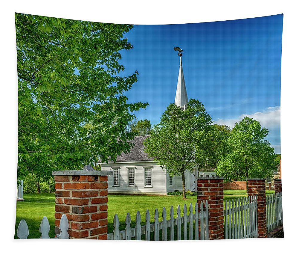 Old Peace Chapel Tapestry featuring the photograph Old Peace Chapel Defiance Mo 7r2_dsc6739_04252017 by Greg Kluempers
