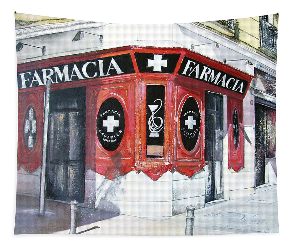 Pharmacy Tapestry featuring the painting Old Pharmacy by Tomas Castano