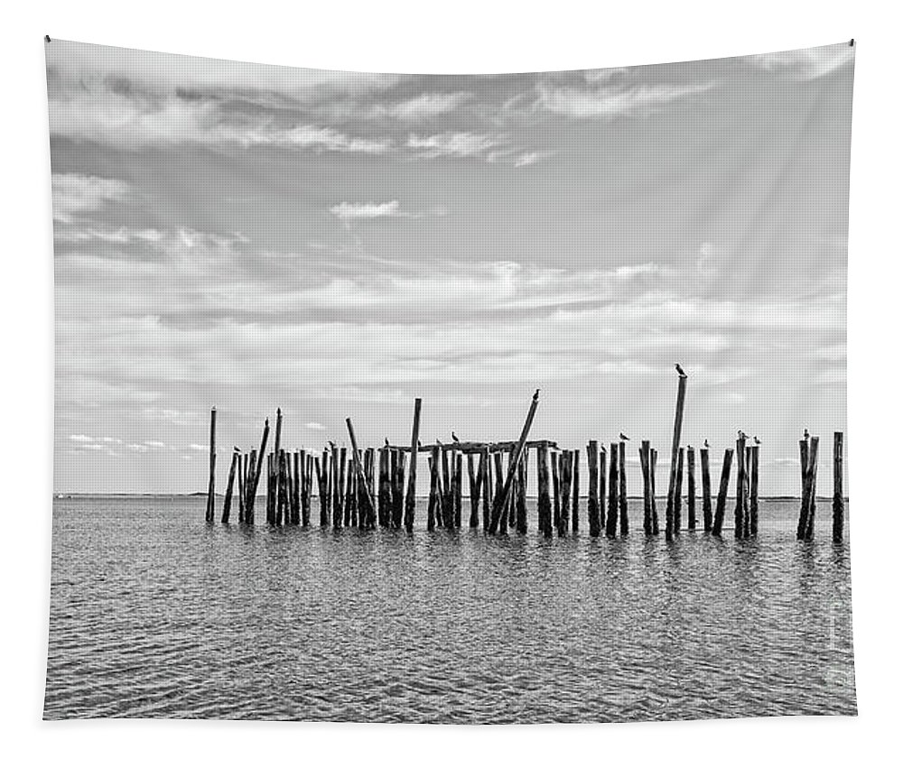 Cape Cod Tapestry featuring the photograph Old Pier Provincetown Harbor Cape Cod by Edward Fielding