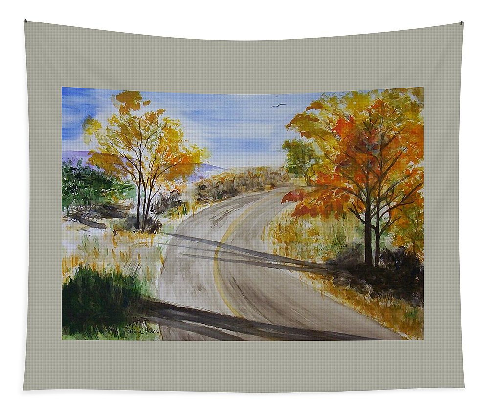 Fall Tapestry featuring the painting Old Road by Jamie Frier