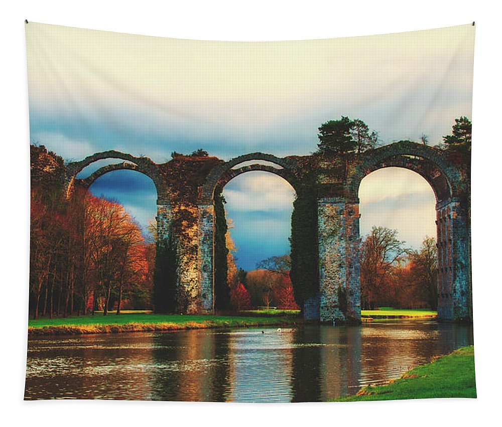 Roman Tapestry featuring the photograph Old Roman Aqueduct by Pixabay