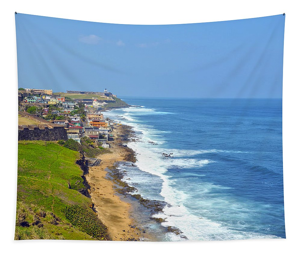 Ocean Tapestry featuring the photograph Old San Juan Coastline 3 by Stephen Anderson