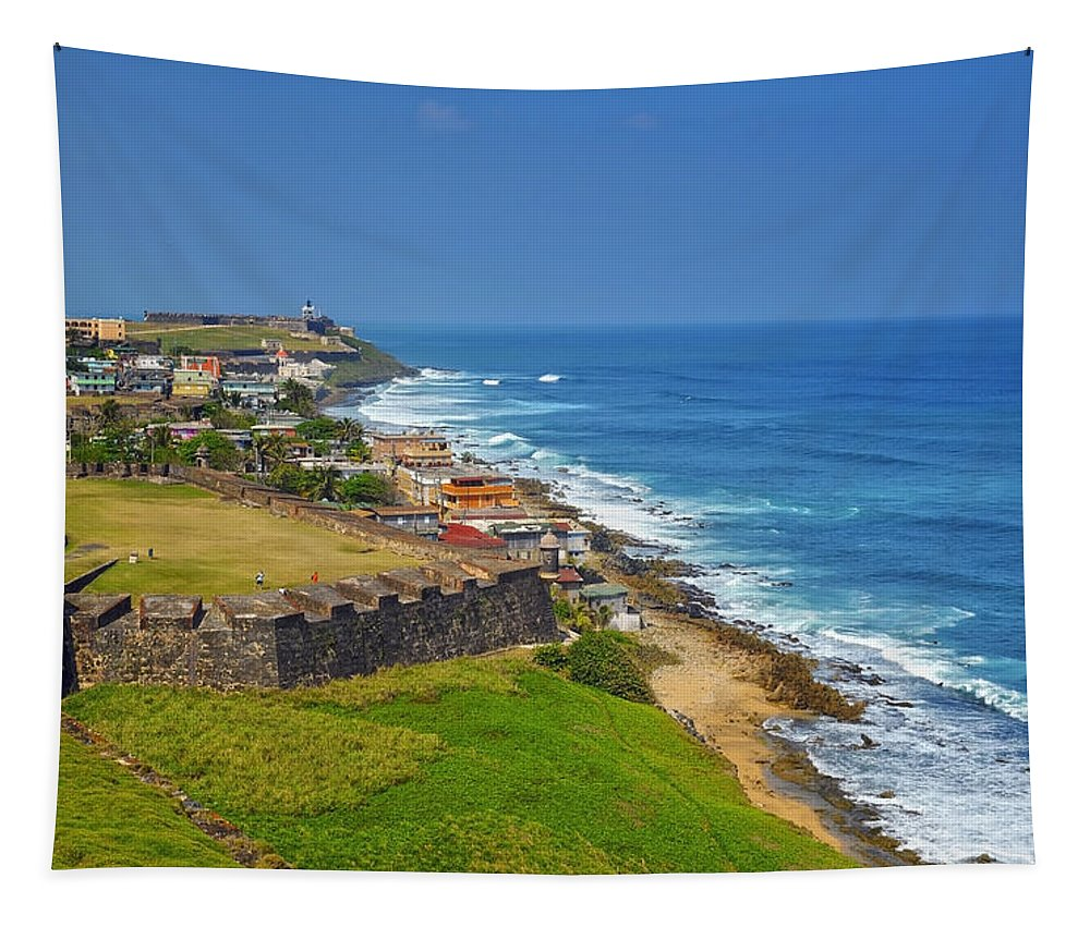 Ocean Tapestry featuring the photograph Old San Juan Coastline by Stephen Anderson
