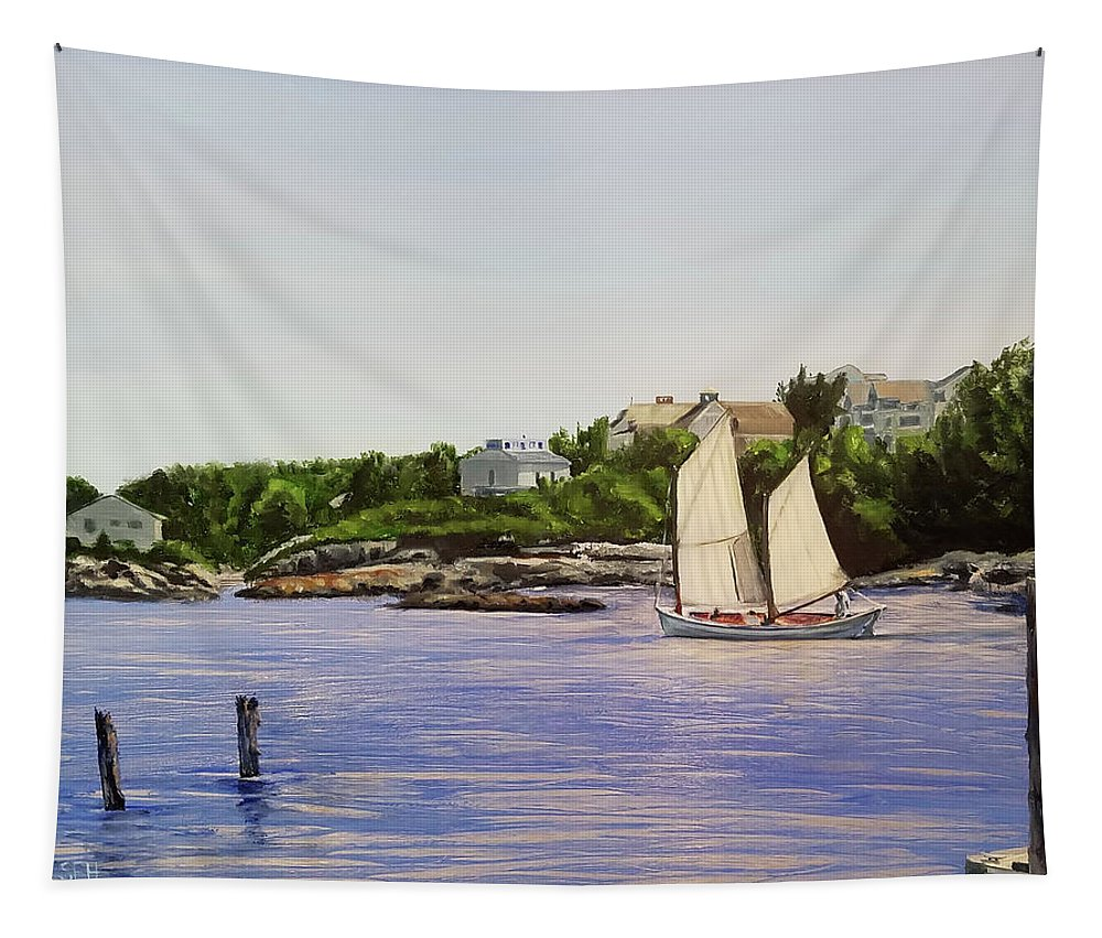 Oil Tapestry featuring the painting Old School by Susan Hanna