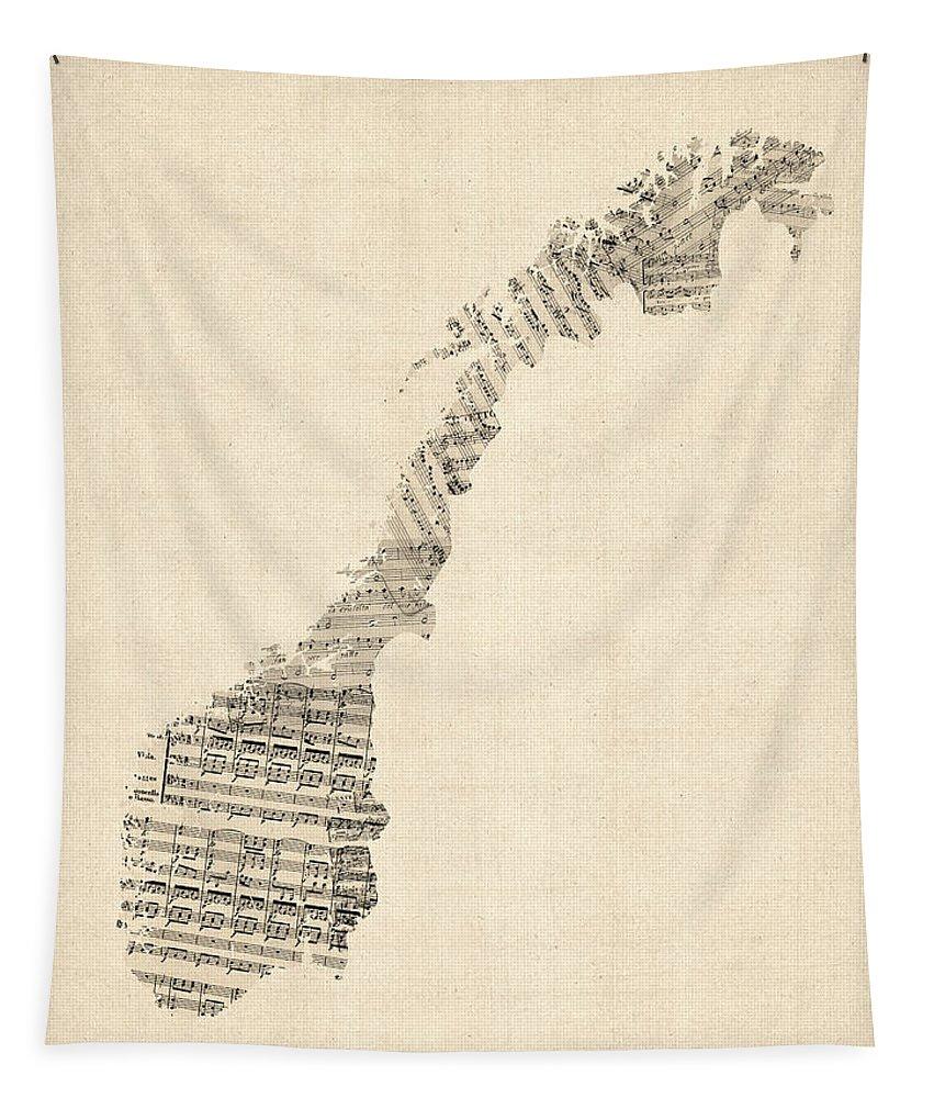 Norway Map Tapestry featuring the digital art Old Sheet Music Map Of Norway by Michael Tompsett