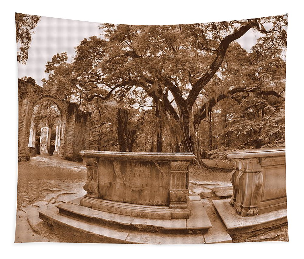 Old Sheldon Church Beaufort Sc Sepia Tapestry featuring the photograph Old Sheldon Church Ruins Beaufort Sc Sepia by Lisa Wooten