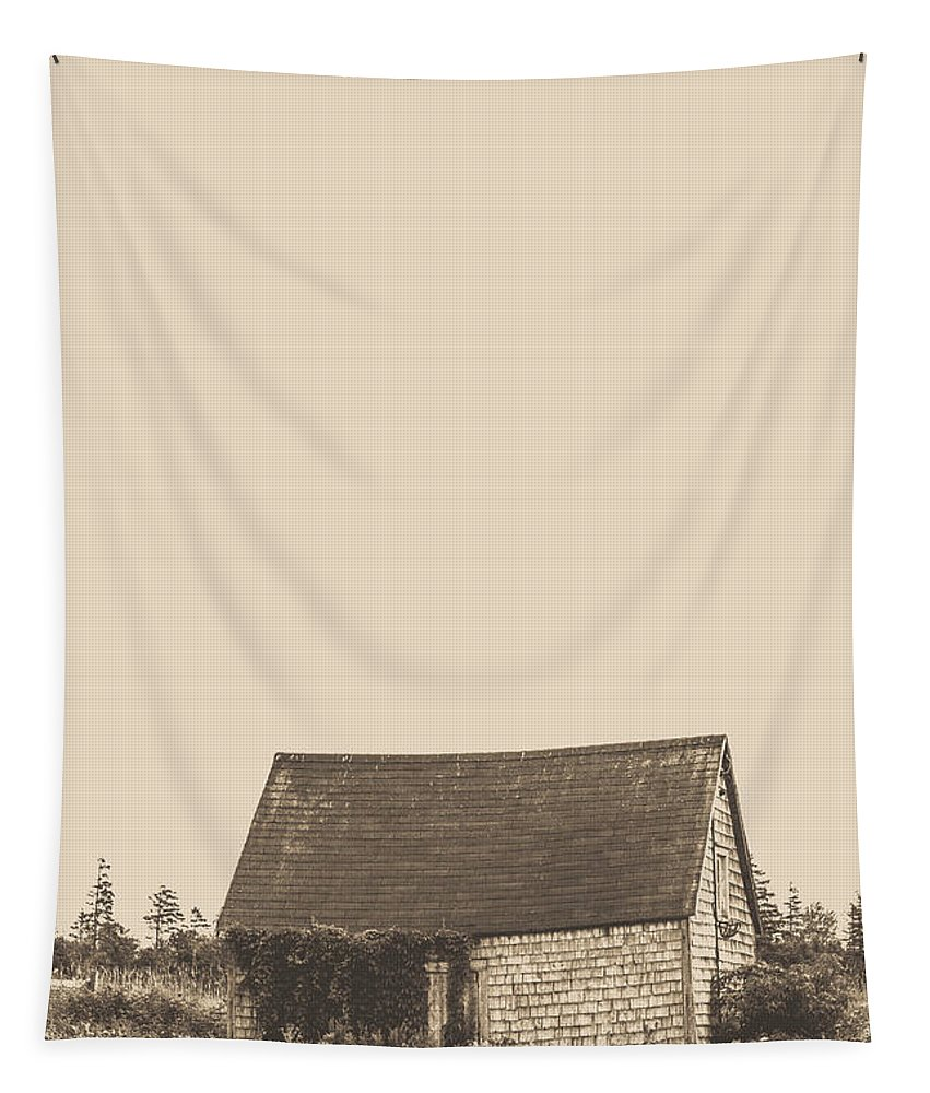 Farm Tapestry featuring the photograph Old Shingled Farm Shack by Edward Fielding