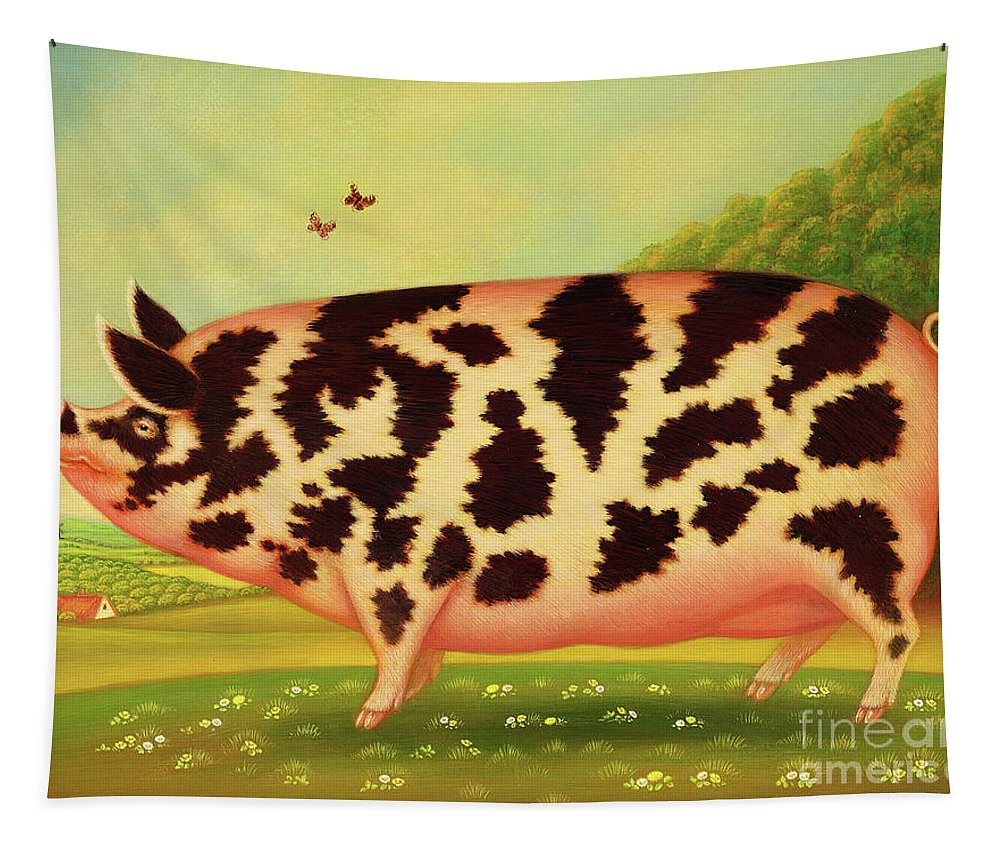 Pig Tapestry featuring the painting Old Spot Pig by Frances Broomfield