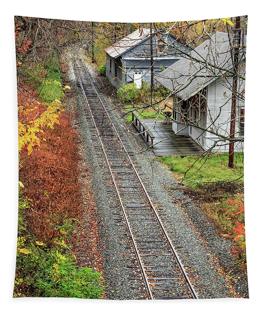 Train Tapestry featuring the photograph Old Train Station Norwich Vermont by Edward Fielding