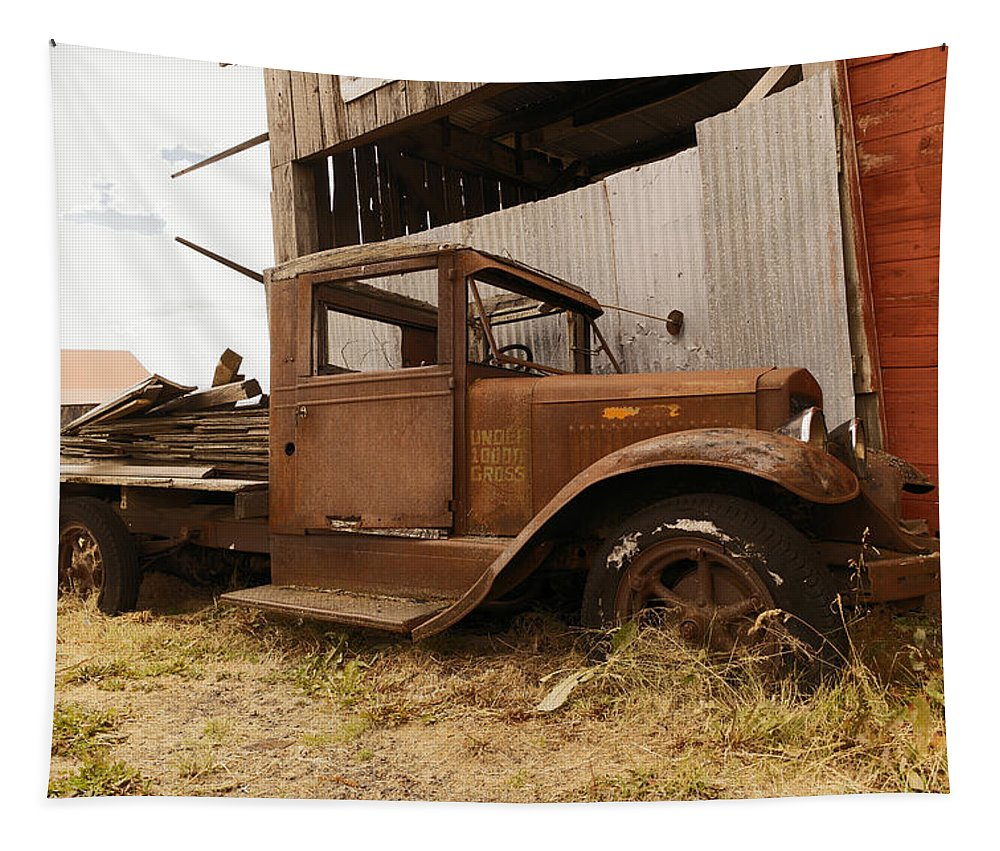 Old Tapestry featuring the photograph Old Truck In Old Forgotten Places by Jeff Swan