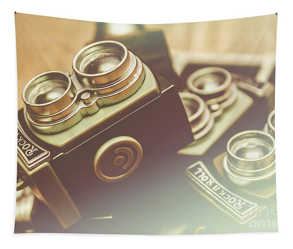 Photograph Tapestry featuring the photograph Old Vintage Faded Print Of Camera Equipment by Jorgo Photography - Wall Art Gallery
