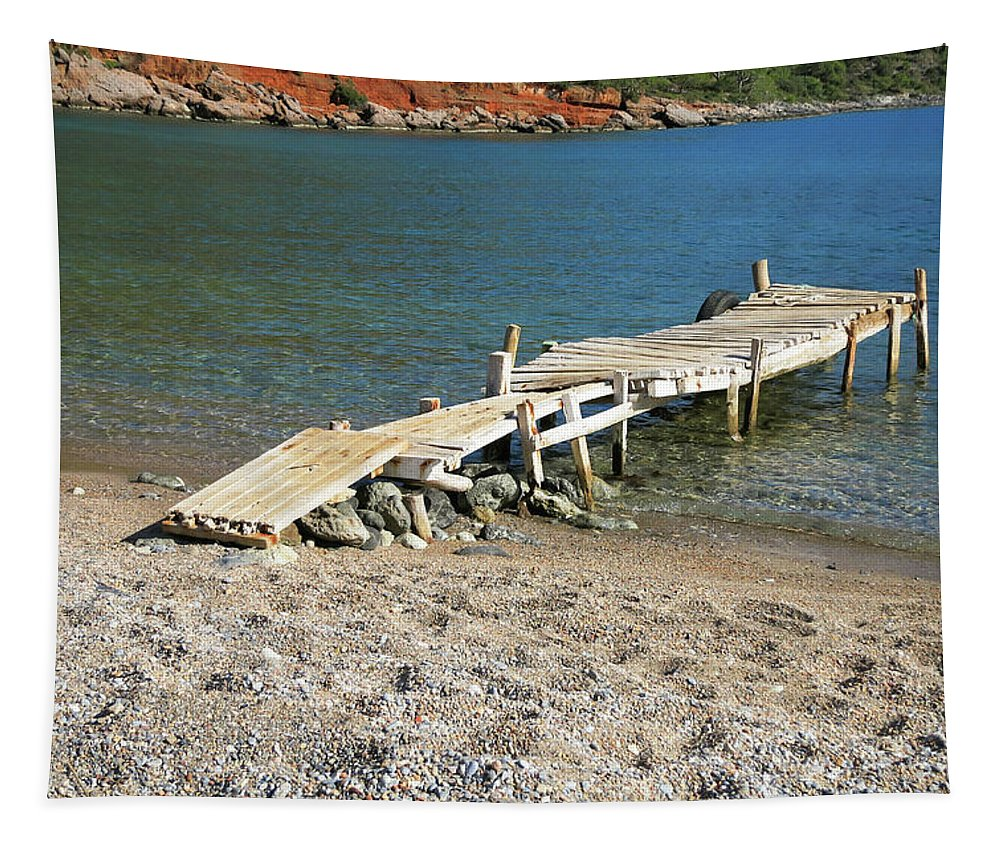 Old Wooden Dock Tapestry featuring the photograph Old Wooden Dock by Phyllis Taylor