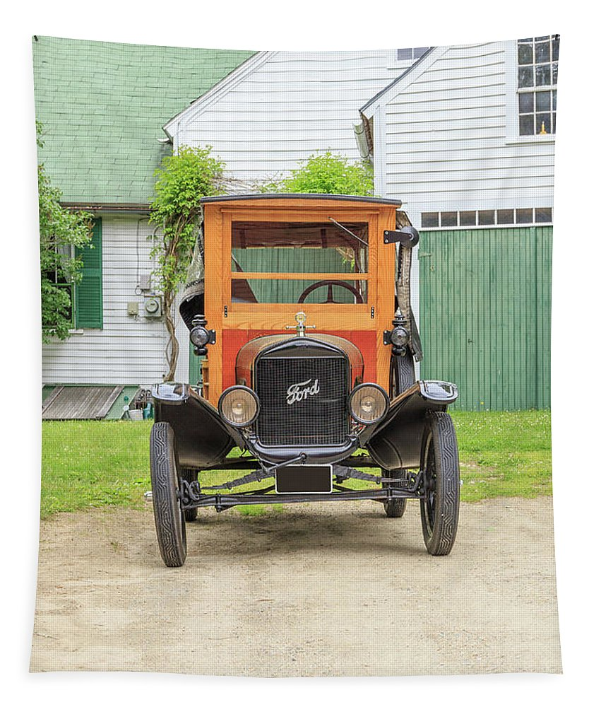 Model Tapestry featuring the photograph Old Woodie Model T Ford by Edward Fielding
