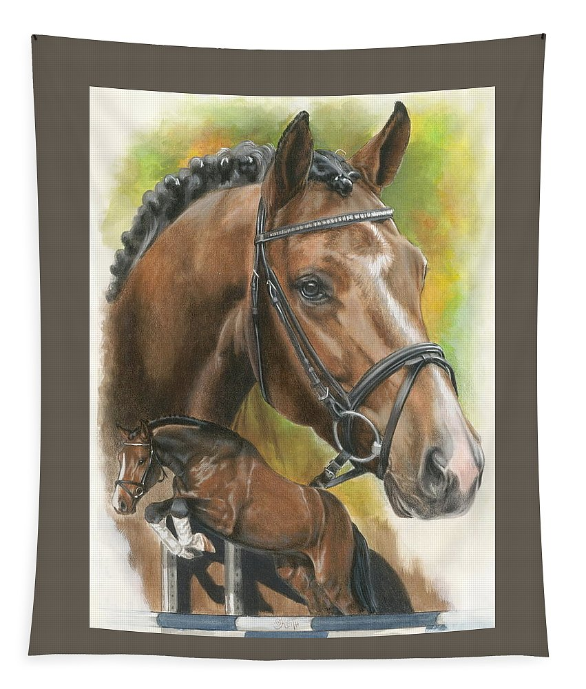 Hunter Jumper Tapestry featuring the mixed media Oldenberg by Barbara Keith