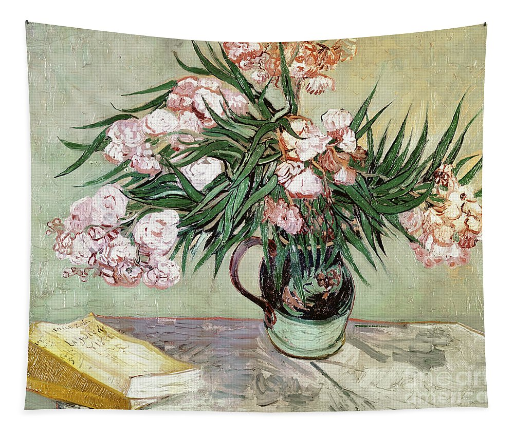 Vincent Van Gogh Tapestry featuring the painting Oleanders And Books by Vincent van Gogh