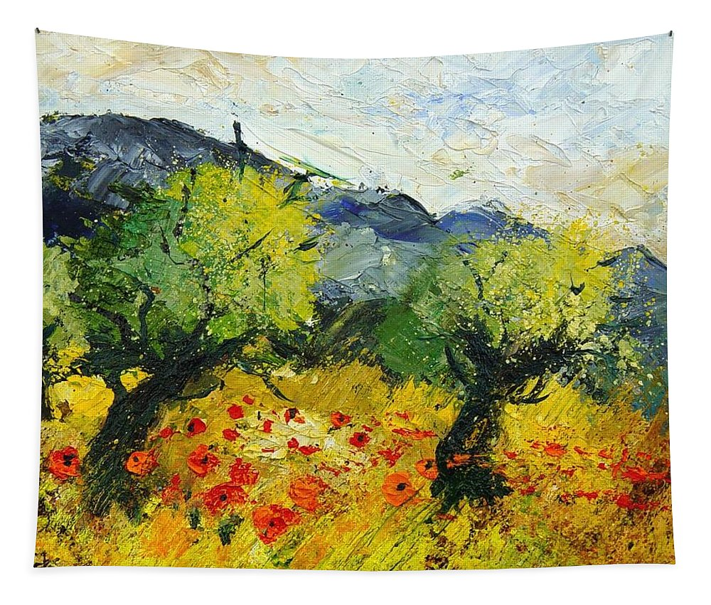 Flowers Tapestry featuring the painting Olive Trees And Poppies by Pol Ledent