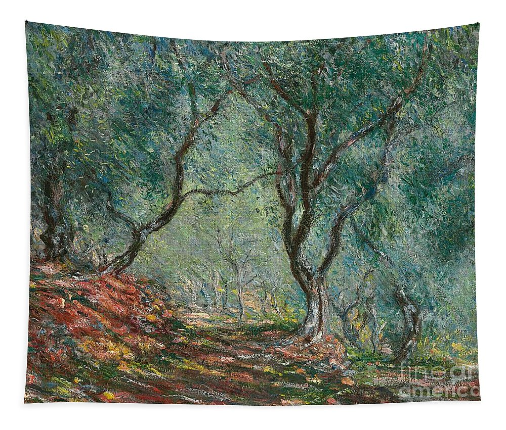Bordighera; Italian; Landscape; Olive Grove; Path; Impressionist; French Tapestry featuring the painting Olive Trees In The Moreno Garden by Claude Monet