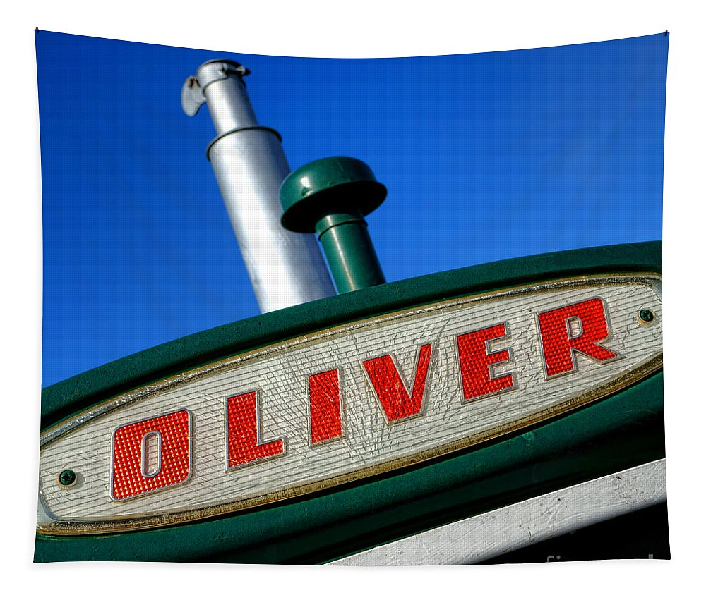 Oliver Tapestry featuring the photograph Oliver Tractor Nameplate by Olivier Le Queinec