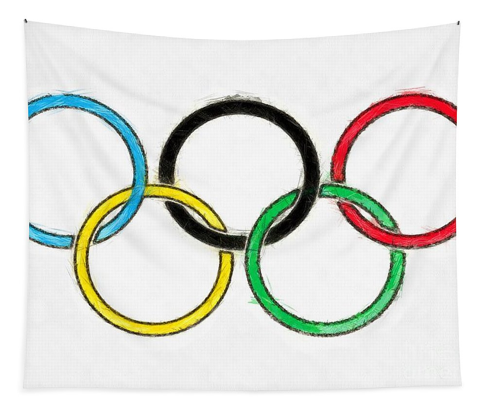 Olympics Tapestry featuring the digital art Olympic Rings Pencil by Edward Fielding