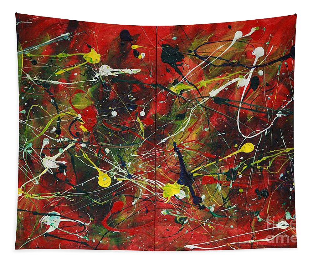 Splatter Tapestry featuring the painting On A High Note by Jacqueline Athmann