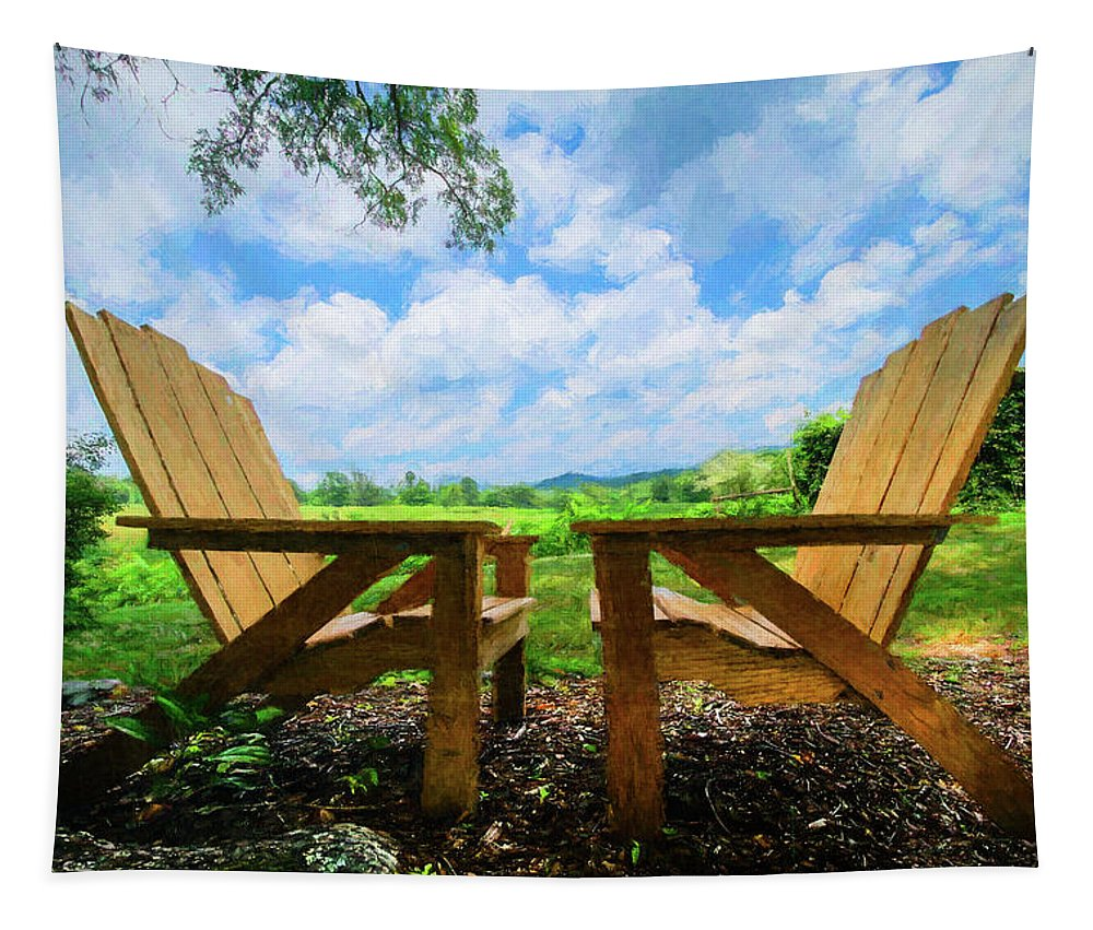 Appalachia Tapestry featuring the photograph On A Pretty Summer Day Oil Painting by Debra and Dave Vanderlaan