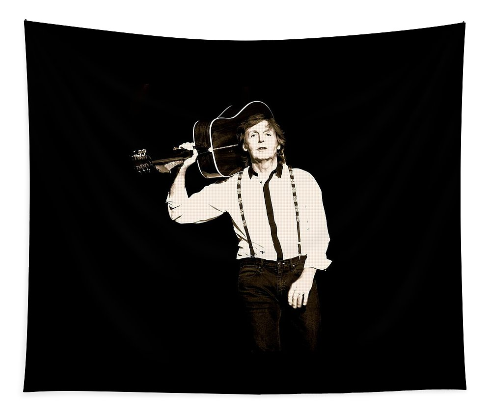 Paul Mccartney Tapestry featuring the photograph On His Way To Work by Keri Butcher