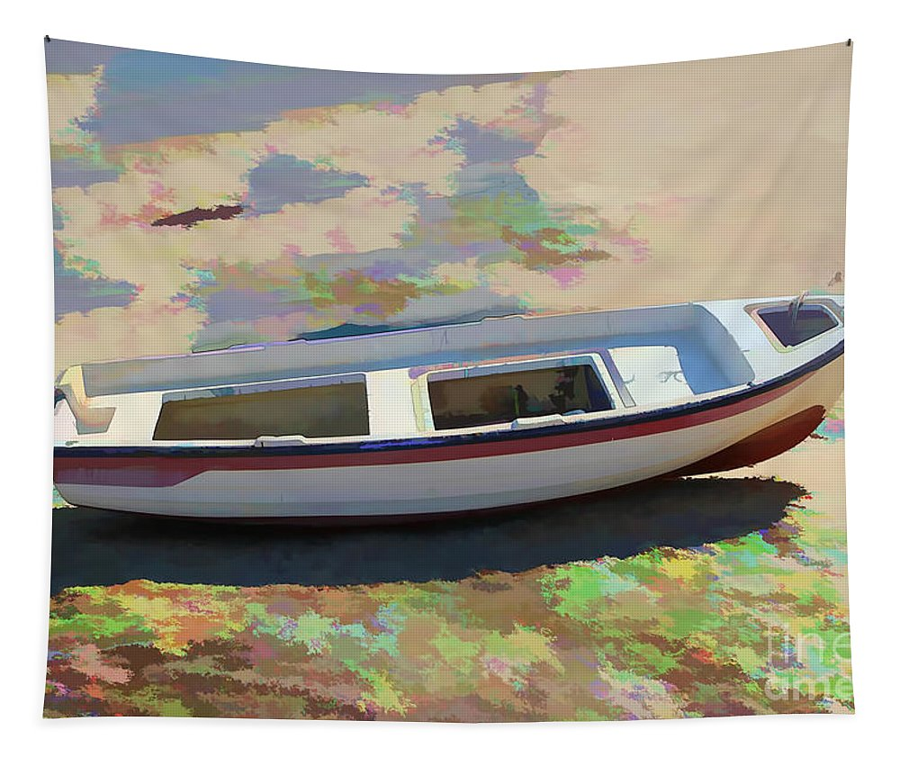 Boat Image Tapestry featuring the photograph On The Beach Mykonos Greece by Tom Prendergast
