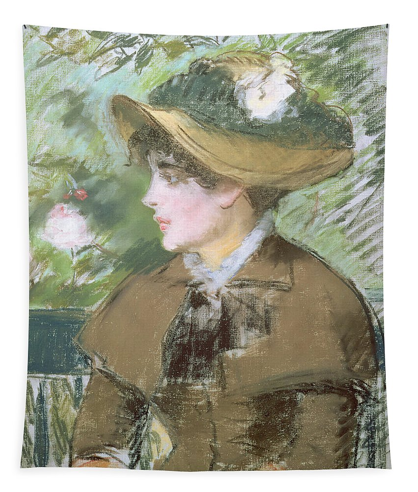 Impressionist; Portrait; Woman; Profile; Head; Hat; Bonnet Tapestry featuring the painting On The Bench by Edouard Manet