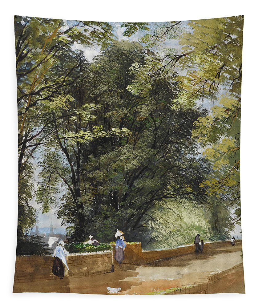 On The Castle Wall Tapestry featuring the painting On The Castle Wall, Exeter by John Gendall