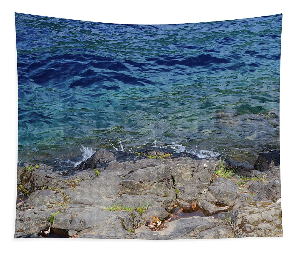 Crescent Lake Tapestry featuring the photograph On The Edge Of The Crescent by Tikvah's Hope
