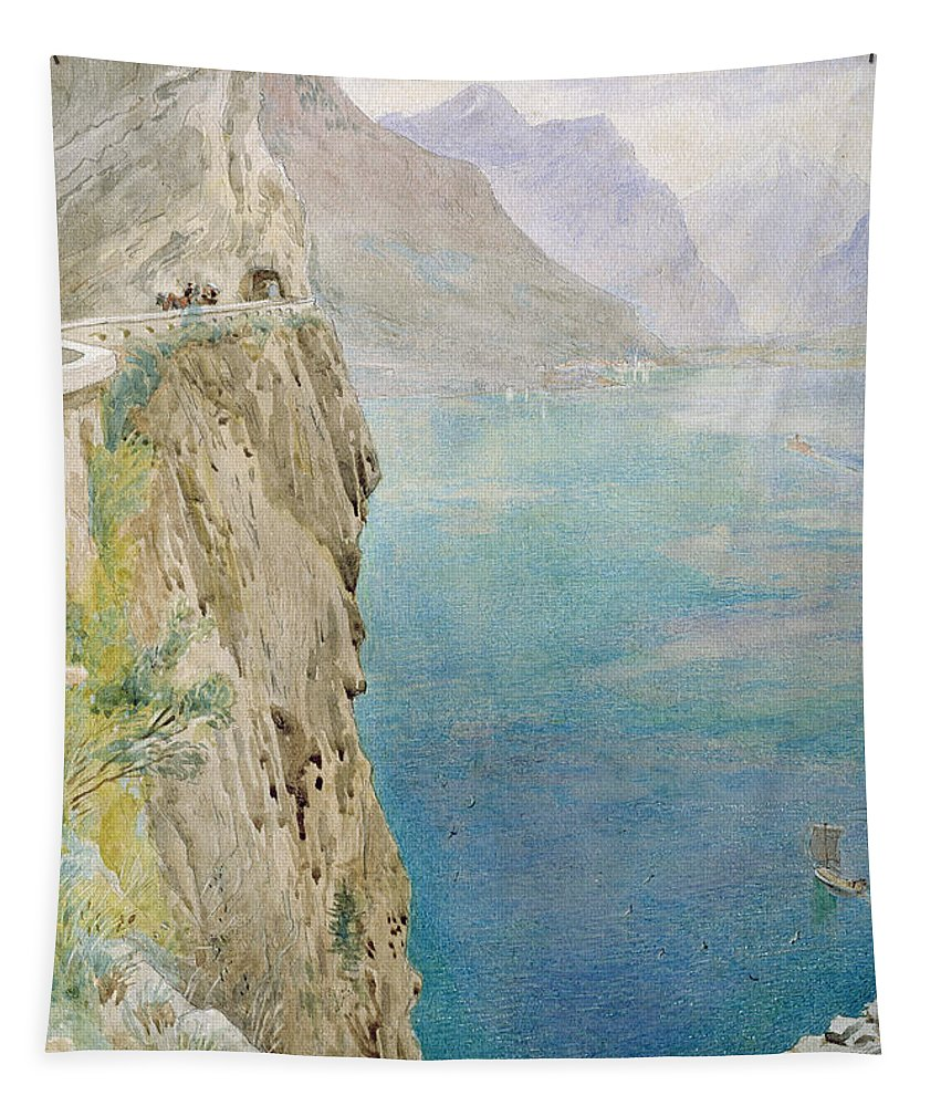 The Tapestry featuring the painting On The Italian Coast by Harry Goodwin