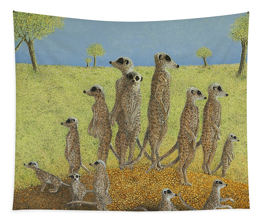 Meerkat Tapestry featuring the painting On The Lookout by Pat Scott