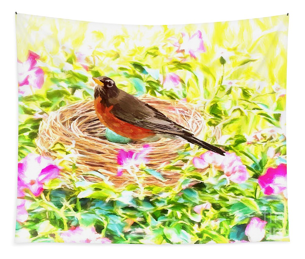 Robin Tapestry featuring the digital art On The Nest by Tina LeCour