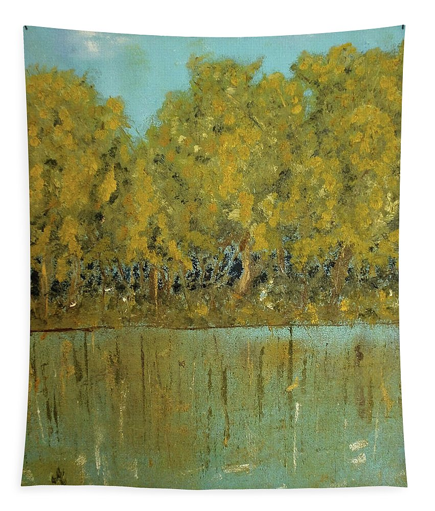 Artwork By Maria Woithofer Tapestry featuring the painting On The River by Maria Woithofer