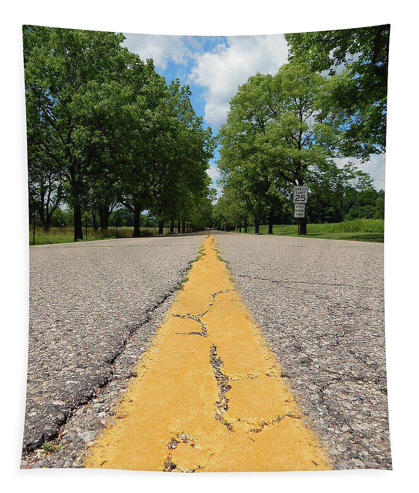 Road Tapestry featuring the photograph On The Road by Phil Perkins